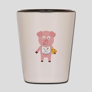 Pig eating Pizza Shot Glass