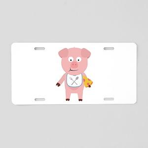 Pig eating Pizza Aluminum License Plate