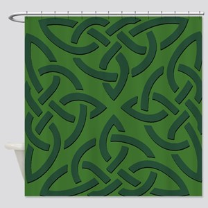 Green on Green Trinity Knot Shower Curtain