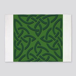 Green on Green Trinity Knot 5'x7'Area Rug