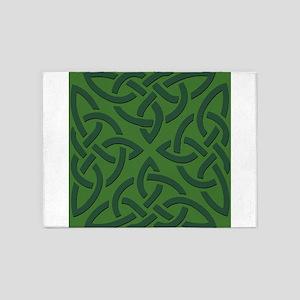 Green on Green Trinity Knot 5'x7'Area Rug