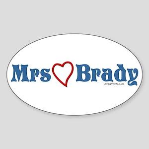 Mrs (heart) Brady Oval Sticker