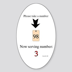Take a number Oval Sticker