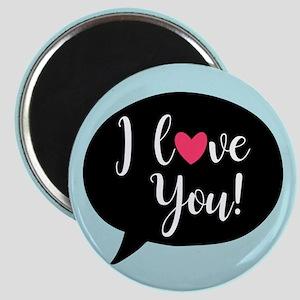 I Love you Speech Bubble Aqua Black Magnet