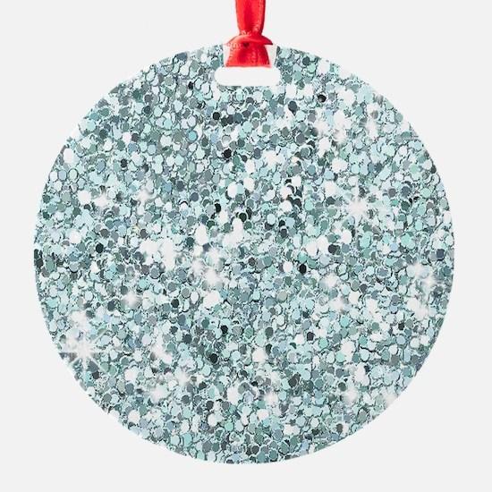 Silver Blue Glitter Ornament