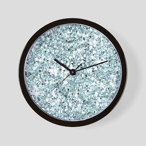 Silver Blue Glitter Wall Clock