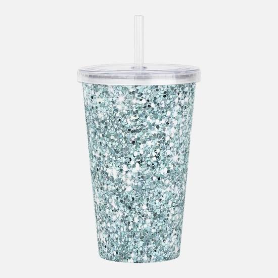 Silver Blue Glitter Acrylic Double-wall Tumbler
