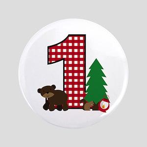 Woodland 1st Birthday Button