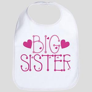 Heart Big Sister Baby Bib
