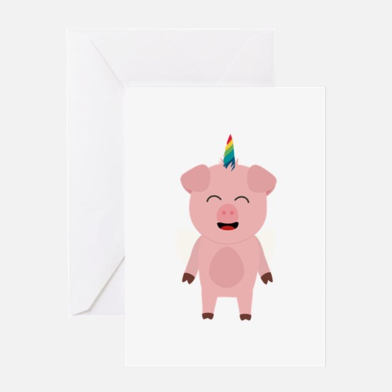 Pig with Unicorn Horn Greeting Cards