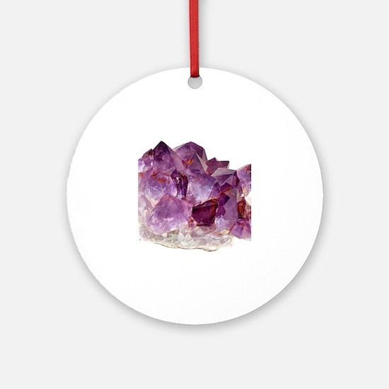 Unique Amethyst crystal gemstone Round Ornament