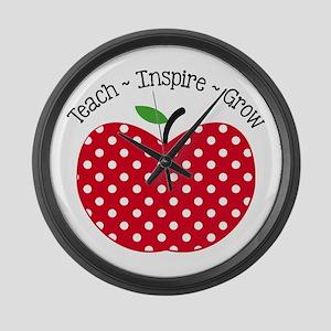Teach Inspire Grow Large Wall Clock