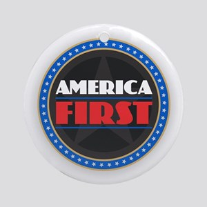 AMERICA FIRST Round Ornament