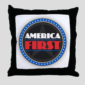 AMERICA FIRST Throw Pillow