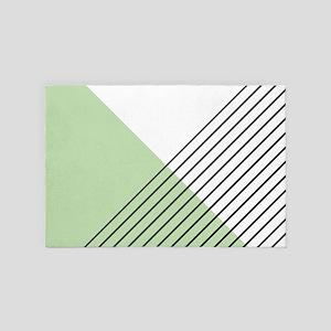 Mint Green Geometric Pattern 4' x 6' Rug