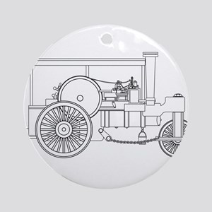 Vintage Steam Roller Outline Round Ornament