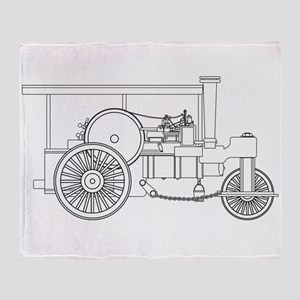 Vintage Steam Roller Outline Throw Blanket