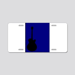 Guitar Blue Background Aluminum License Plate