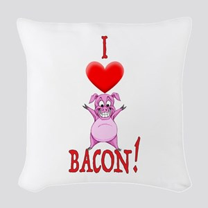 I Love Bacon! Woven Throw Pillow