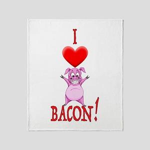 I Love Bacon! Throw Blanket