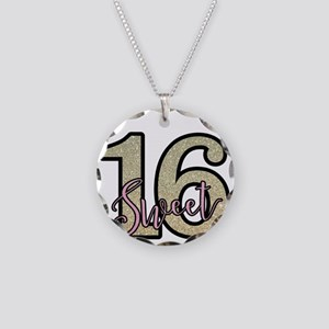 Golden Sweet 16 Necklace Circle Charm