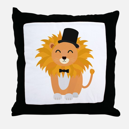 Lion with bow tie Throw Pillow