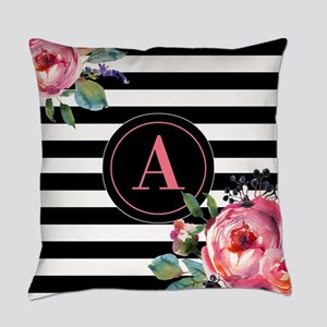 Black Stripe Floral Monogram Everyday Pillow