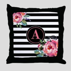 Black Stripe Floral Monogram Throw Pillow