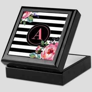 Black Stripe Floral Monogram Keepsake Box