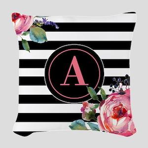 Black Stripe Floral Monogram Woven Throw Pillow