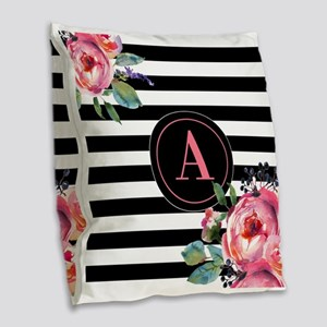 Black Stripe Floral Monogram Burlap Throw Pillow