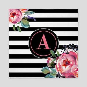 Black Stripe Floral Monogram Queen Duvet
