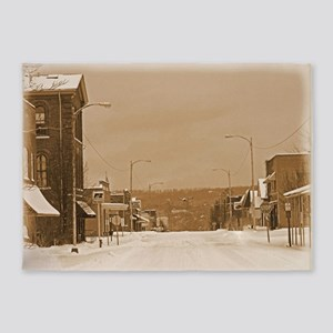 Old Main Street in the Snow 5'x7'Area Rug