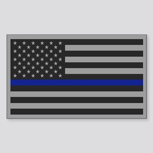 Thin Blue Line Gray Flag Sticker (Rectangle)