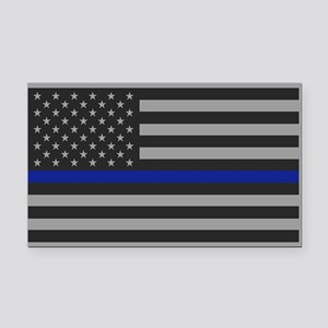 Thin Blue Line Gray Flag Rectangle Car Magnet