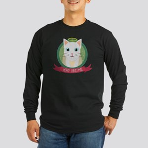 Christmas Cat as Angel Long Sleeve T-Shirt