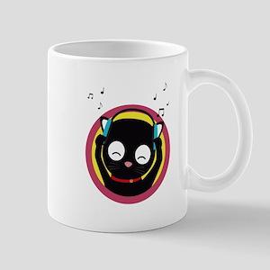 Cat with headphones hears music Mugs