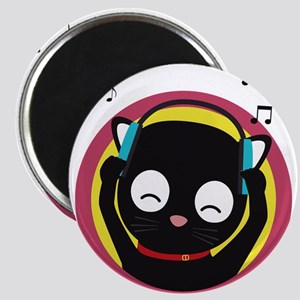 Cat with headphones hears music Magnets