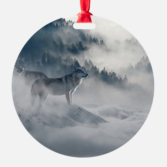 Snow Wolves In Mtns Ornament
