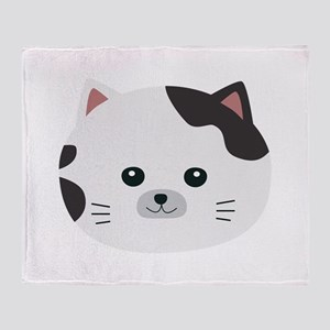 White Cat with spotted fur Throw Blanket
