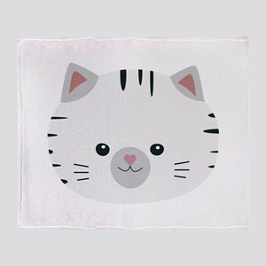 Black and White tiger cat Throw Blanket
