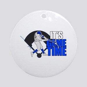It's Game Time - Baseball (Blue) Round Ornament