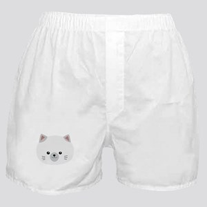 Cute white kitty with gray ears Boxer Shorts