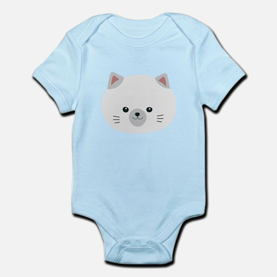 Cute white kitty with gray ears Body Suit