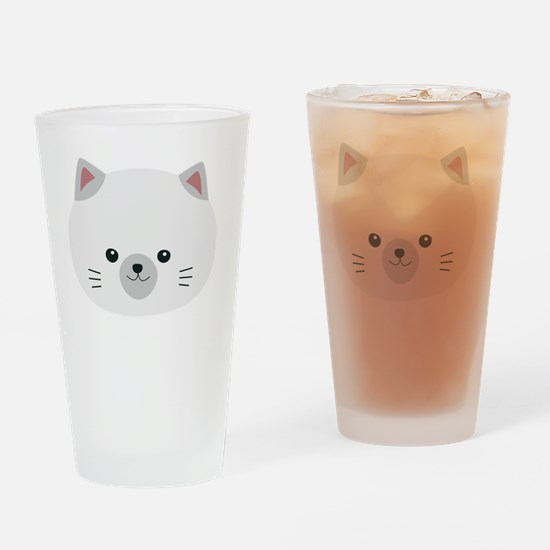 Cute white kitty with gray ears Drinking Glass
