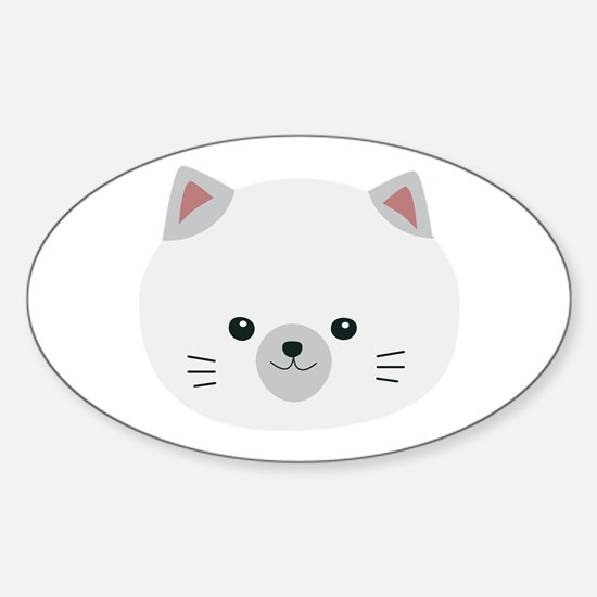 Cute white kitty with gray ears Decal