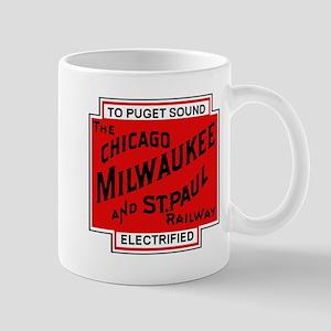 Milwaukee Road Puget Sound Railway design red Mugs