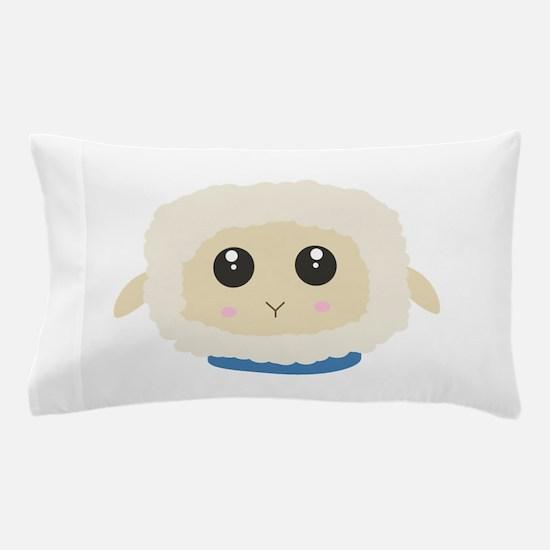 Cute little sheep with blue collar Pillow Case