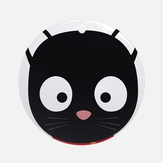 Cute black cat with red collar Round Ornament