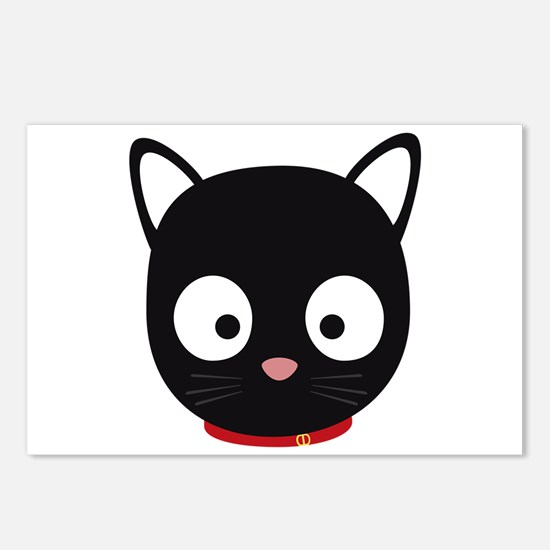Cute black cat with red c Postcards (Package of 8)